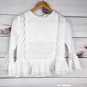 T214 Zara white cotton and lace blouse